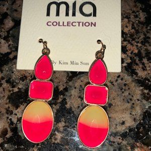 TRENDY MIA COLLECTION HOT PINK/YELLOW EARRINGS new